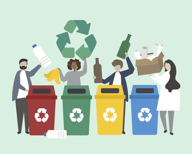 pessoas que classificam o lixo em ilustracao de lixeiras 53876 43173